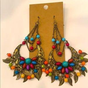 💐 5/25 colorful beaded hoop dangle earrings